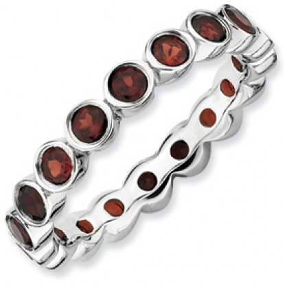 Bezel Set Garnet Sterling Silver Stackable Expressions Eternity Ring Band