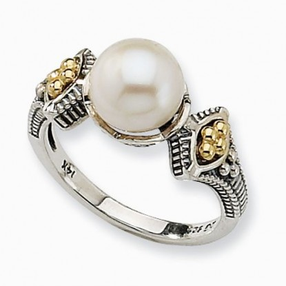 Freshwater Cultured Pearl Ring in Sterling Silver with 14k Accents