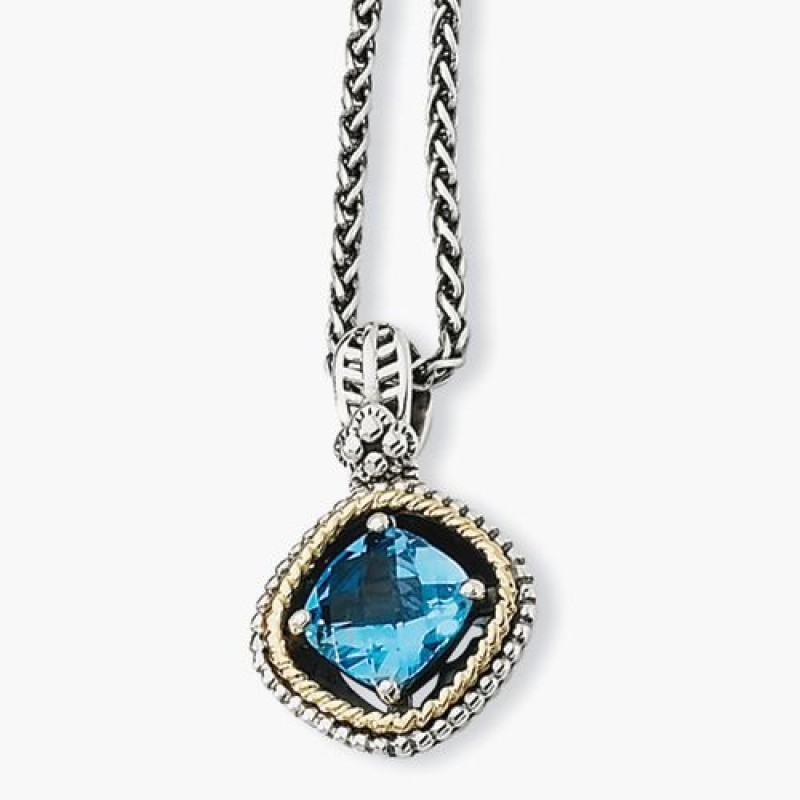 Medium Swiss Blue Topaz Sterling Silver Pendant Necklace With 14k