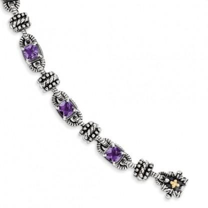 Amethyst Antiqued Sterling Silver Bracelet with 14k Accents