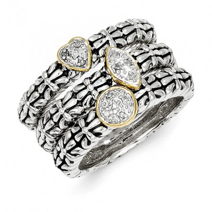 Set of 3 Sterling Silver Diamond Stackable Rings with 14k Gold Accent