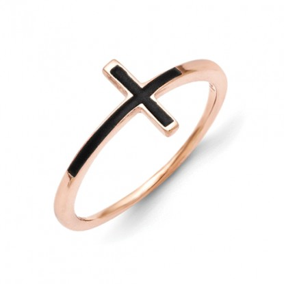 14k Rose Gold Antiqued Sideways Cross Ring