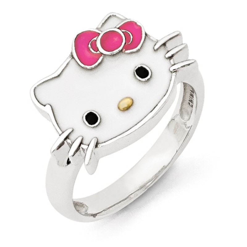 pink enamel sterling silver hello kitty ring