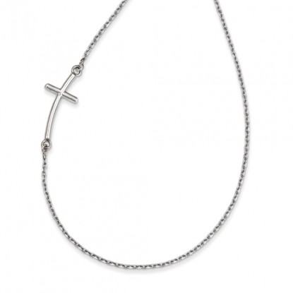 Large 14k White Gold Sideways Curved Cross Necklace