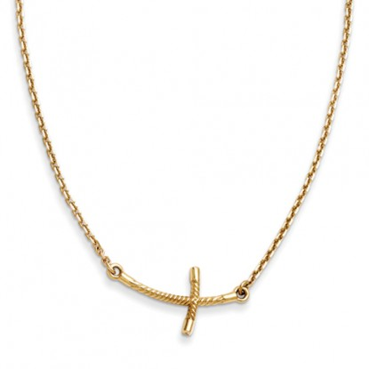 Curved Twisted 14k Yellow Gold Sideways Cross Necklace