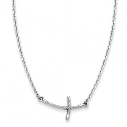 Curved Twisted 14k White Gold Sideways Cross Necklace