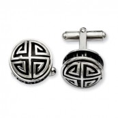 Stainless Steel Black Enamel and Greek Key Cufflinks