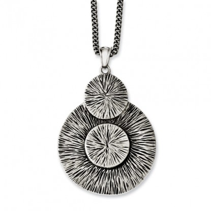 Antiqued Circles Stainless Steel Pendant Necklace