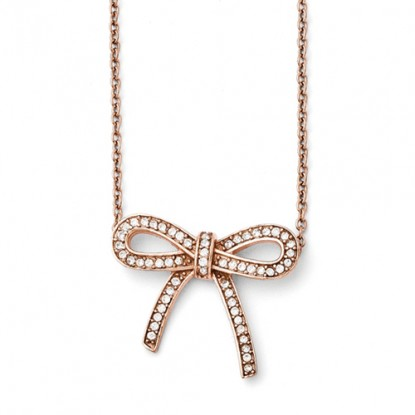 Rose Gold Plated Crystal Bow Stainless Steel Necklace
