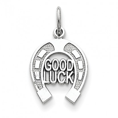 14k White Gold Horseshoe Good Luck Charm