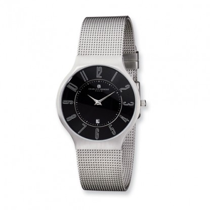 Men's Charles Hubert Stainless Steel Black Dial Milanese Band Watch