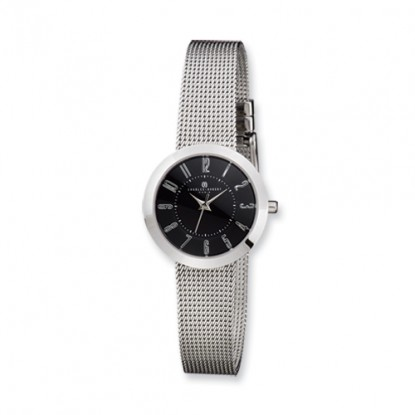 Ladies Charles Hubert Stainless Steel Black Dial Milanese Band Watch