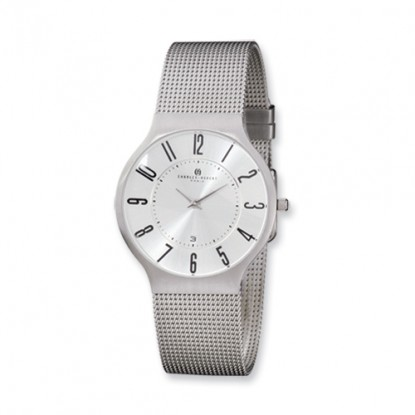 Men's Charles Hubert Stainless Steel Silver Dial Milanese Band Watch