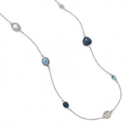Multi-Stone Endless Necklace with Larimar, Blue Topaz, Aquamarine, Rainbow Moonstone