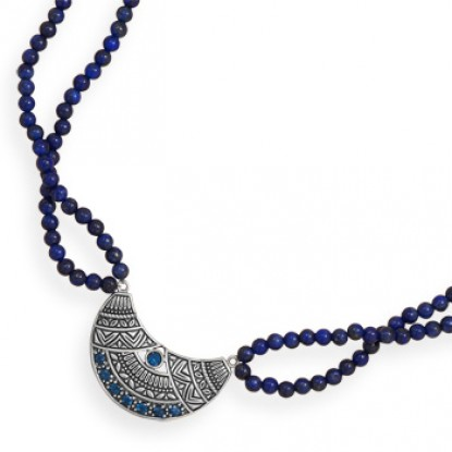 Double Strand Lapis Necklace with Oxidized Topaz Pendant