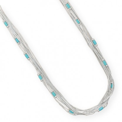 Multi-Strand Liquid Silver Necklace with Turquoise