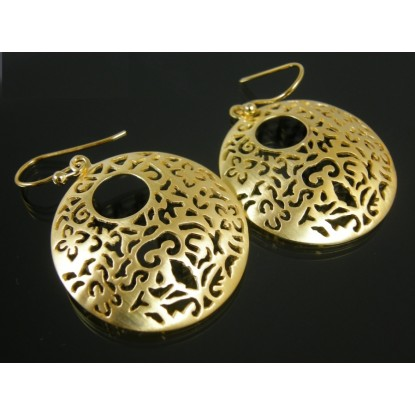 Brushed 14 Karat Gold Plated Pierced Disc Earrings