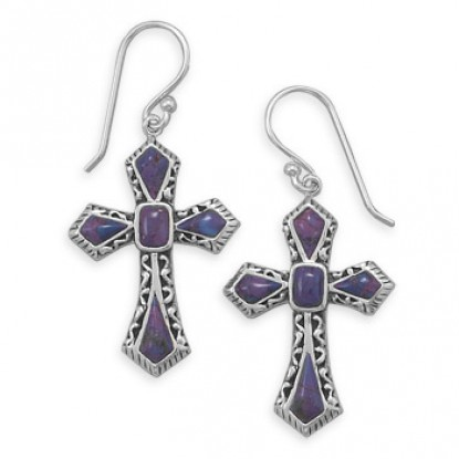 Dyed Purple Turquoise Cross Dangle Earrings