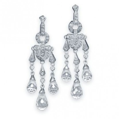 Rhodium Plated CZ Briolette Chandelier Earrings