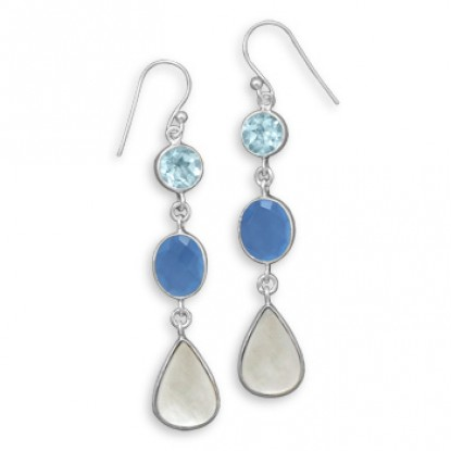Long Dangling Blue Multi-Stone Drop Earrings