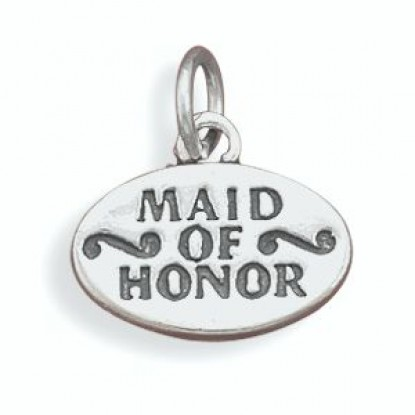 Oval Oxidized Sterling Silver Maid Of Honor Charm