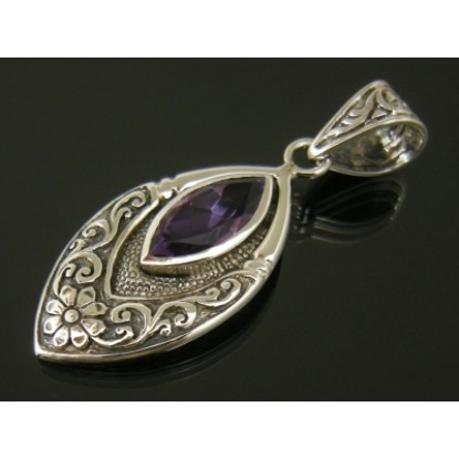 Ornate Sterling Silver Amethyst Marquise Pendant