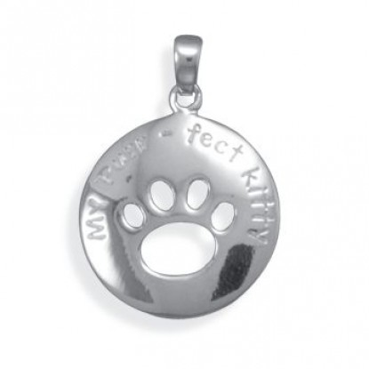 Rhodium Plated Sterling Silver Kitty Paw Print Pendant