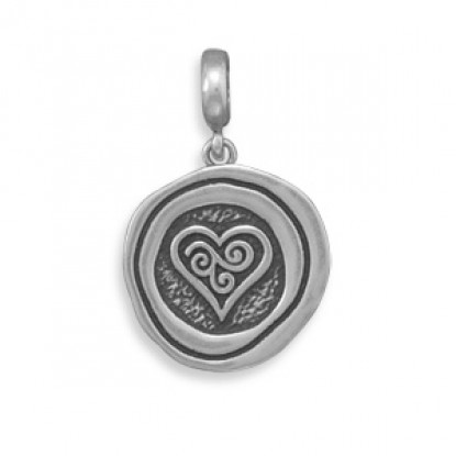 Oxidized Sterling Silver Heart Pendant