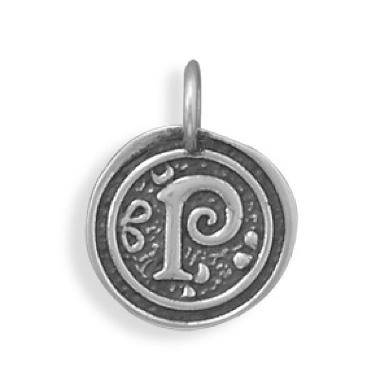Round Sterling Silver Initial P Charm Pendant