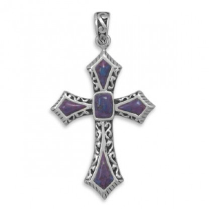 Dyed Purple Turquoise Cross Pendant