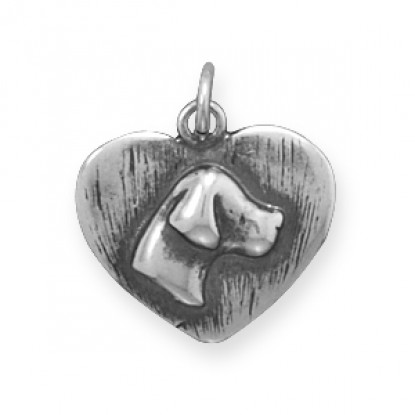 Oxidized Dog Silhouette Heart-Shaped Charm