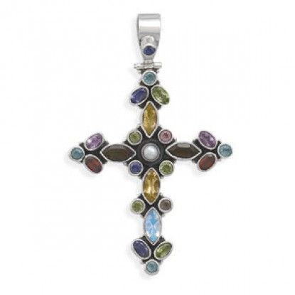 Multicolor Stone Cross Hinged Sterling Silver Pendant
