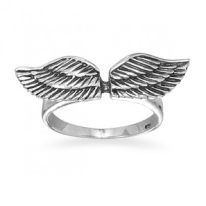 Angel Wings Oxidized Sterling Silver Ring