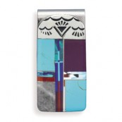 Stainless Steel Money Clip with Multicolor Inlay Simulated Stones