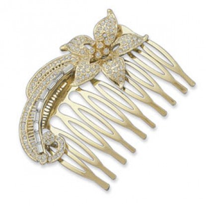 Fashion 14 Karat Gold Plated Hair Comb with Swarovski Crystal Flower