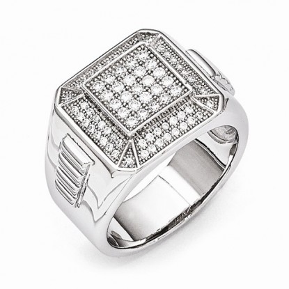 Men's Sterling Silver & CZ Brilliant Embers Ring