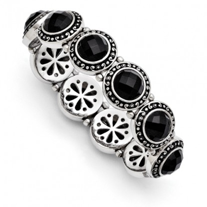 Black Onyx Antiqued Stainless Steel Stretch Bracelet