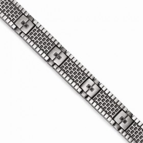 Brushed Mesh Texture Mens Stainless Steel Chisel Bracelet Black CZs