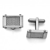 Stainless Steel Gray Carbon Fiber Rectangle Cufflinks with Weave Inlay
