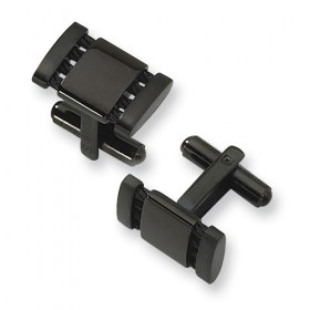 Stainless Steel Black IP-Plated Cufflinks - Engravable