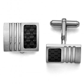 Stainless Steel Cufflinks with Black Carbon Fiber Weave Inlay