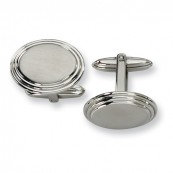 Brushed Oval Stainless Steel Cufflinks with Polished Crimp Edging - Engravable