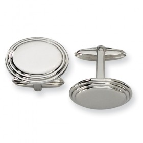 Polished Oval Stainless Steel Cufflinks with Crimped Edging - Engravable