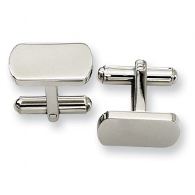 Rounded Rectangle Stainless Steel Cufflinks - Engravable
