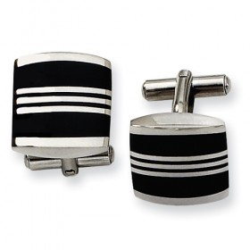Stainless Steel Chisel Cufflinks with Black Enameled Inlay Stripes