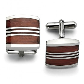 Stainless Steel Cufflinks with Wood Inlay Stripes
