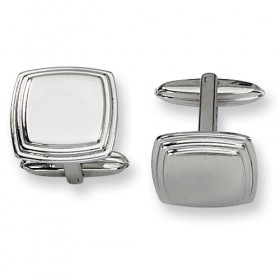 Square Stainless Steel Polished Cufflinks with Grooved Edging