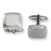 Engravable Square Brushed Stainless Steel Cufflinks with Grooved Edge