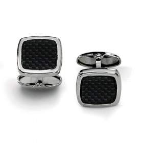 Square Stainless Steel Black Carbon Fiber Weave Cufflinks with Rounded Corners