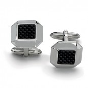 Square Faceted Stainless Steel Black Carbon Fiber Weave Cufflinks